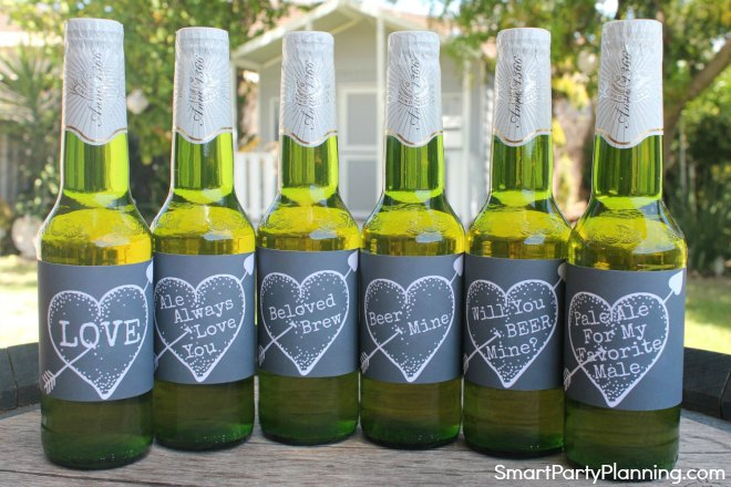 Set of 6 printable Valentines beer labels chalkboard
