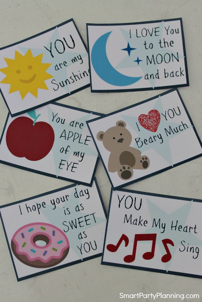 Cut out of Valentines day lunch notes for kids
