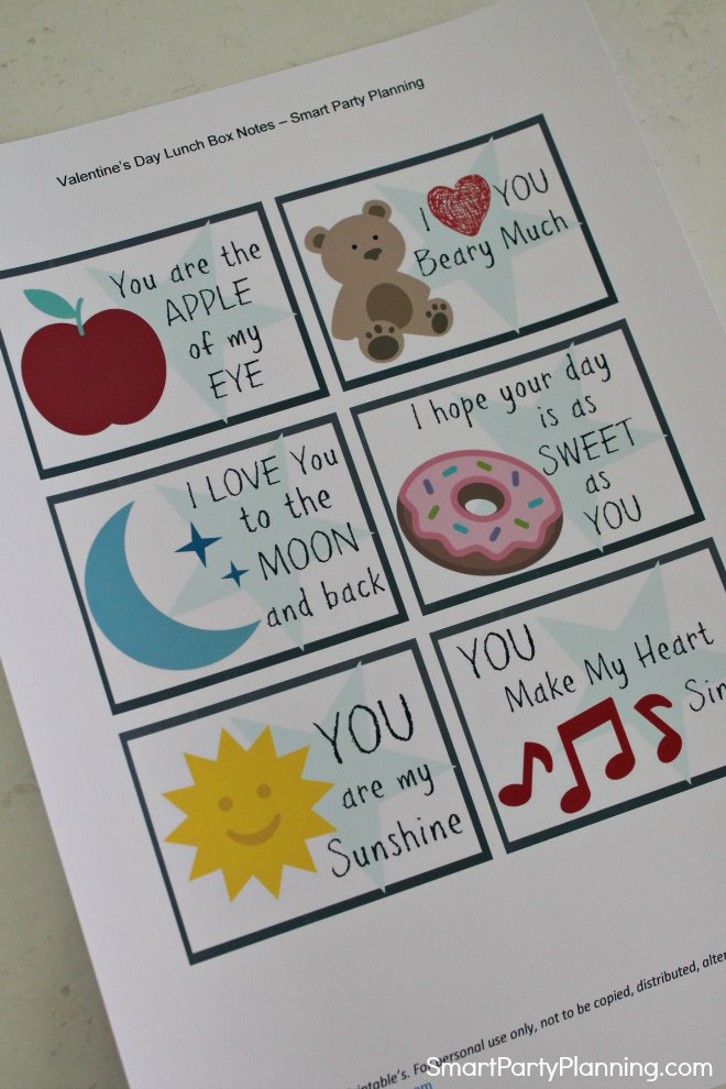 Sheet of Valentines day lunch notes for kids