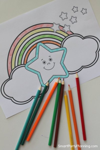 Star and rainbow coloring sheet