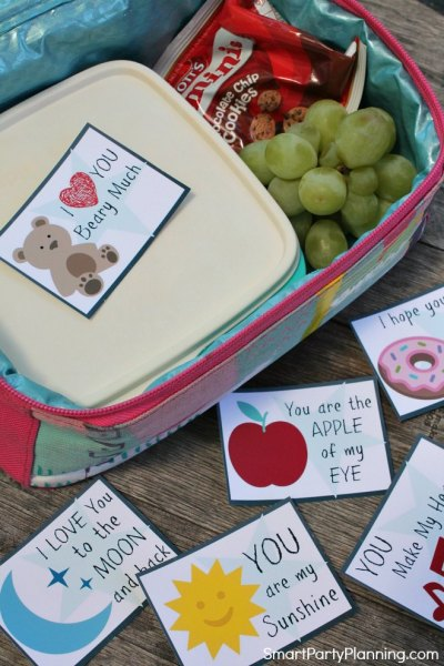 set of Valentines day lunch notes for kids