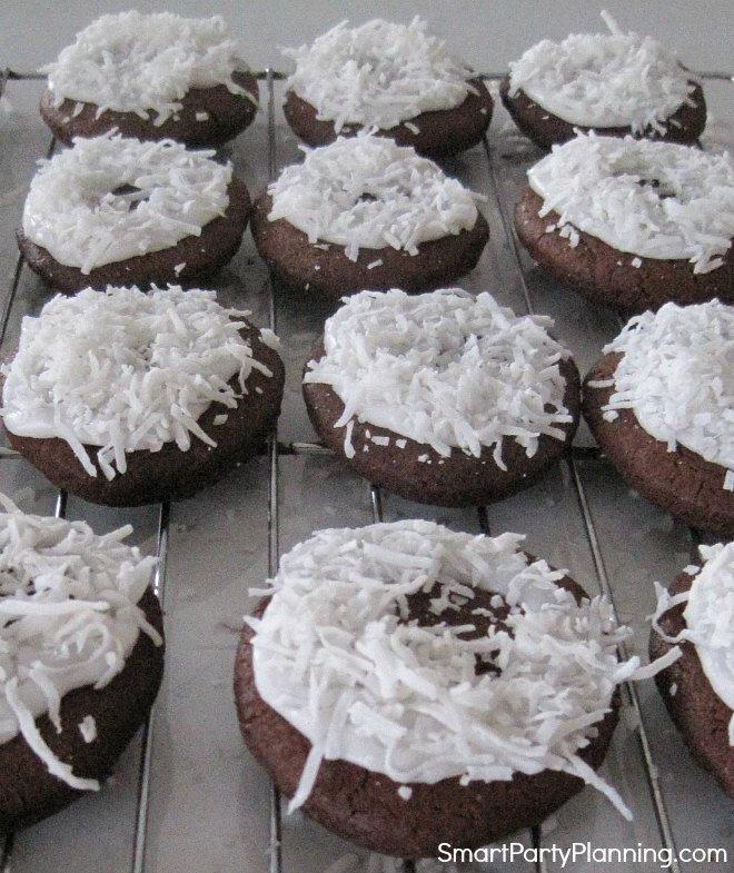 Chocolate egg cookies with icing and coconut
