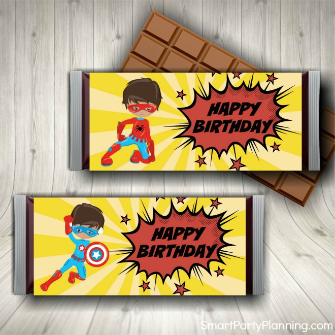 Superhero Candy Wrappers