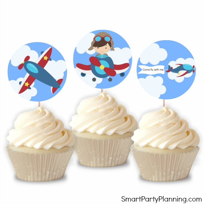 Printable Airplane Cupcake Toppers