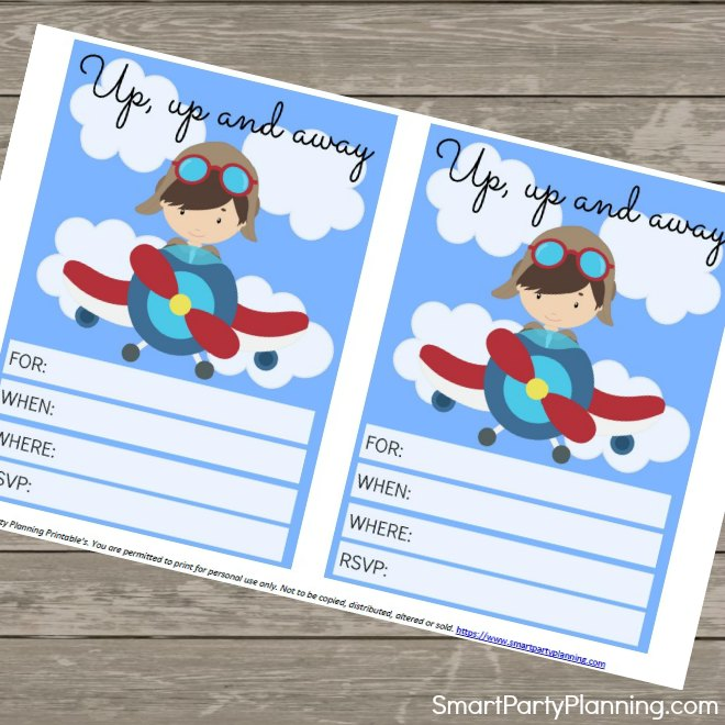 Printable free airplane invitations