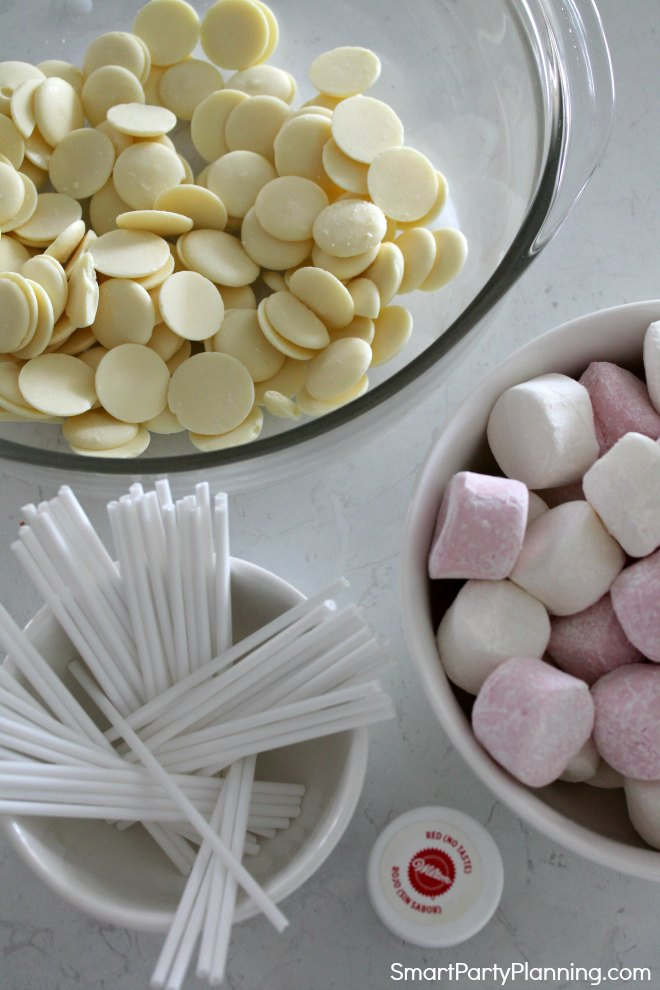 Ingredients for marshmallow pops