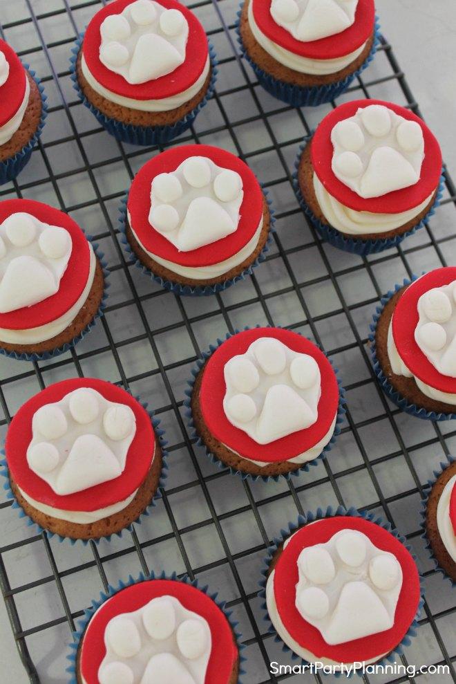 Paw Patrol Paw Print Cupcakes