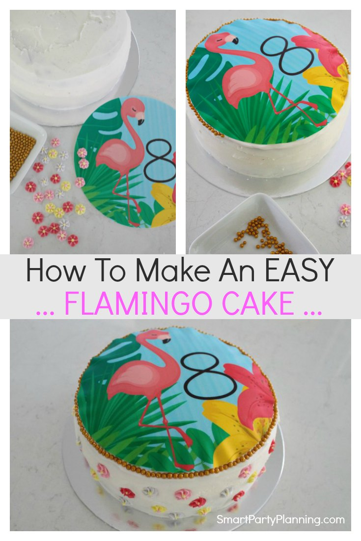 Prime How To Make A Flamingo Birthday Cake The Easy Way Personalised Birthday Cards Veneteletsinfo