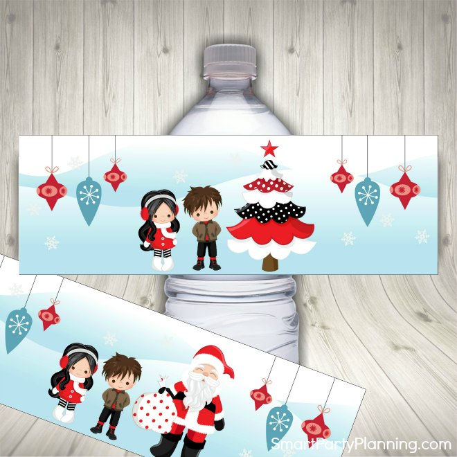 1. Christmas water bottle labels