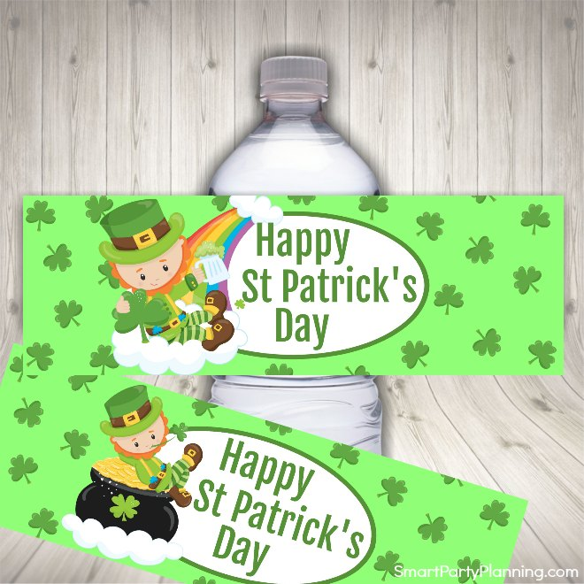 St Patricks day water labels