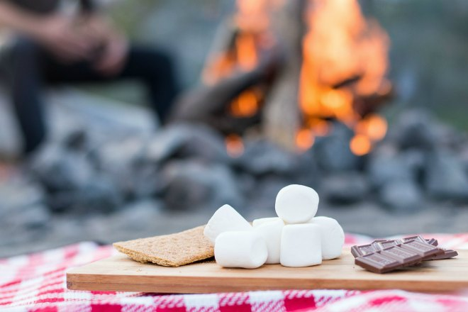 Cooking S'mores on the campfire