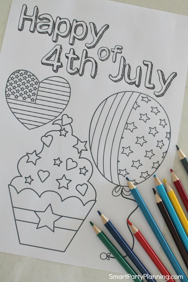 Kids coloring page for 4th of July