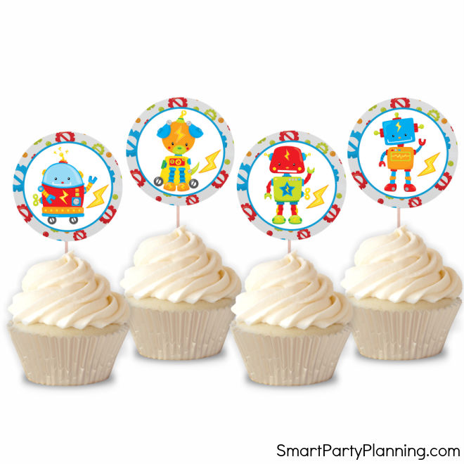 Robot Birthday Party Cupcake Toppers