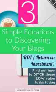 What is RETURN ON INVESTMENT and why do I need to calculate it for my blog? This post shows you three simple equations and explains what ROI is so you can start ditching those tasks that don't improve your ROI and hence increase your income. You need to start doing this today find out how one of the top bloggers used this to explode her income.