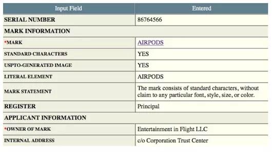 AirPodsの商標登録申請はやはりAppleだった!
