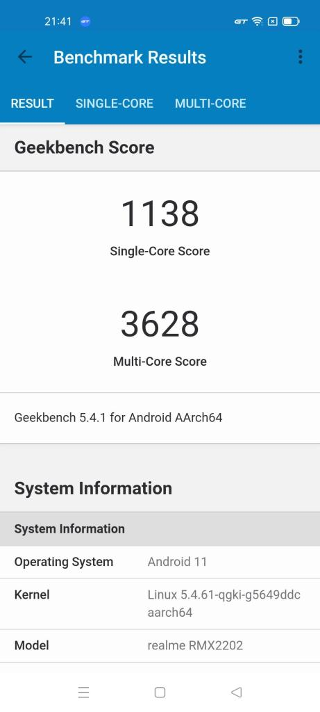 Realme GT 5G Android 11 Geekbench GT-Modus