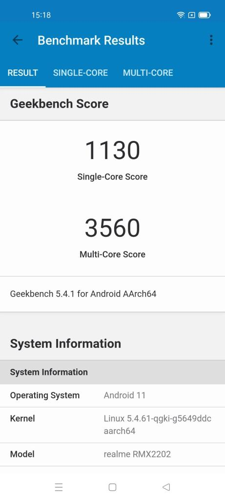 Realme GT 5G Android 11 Geekbench