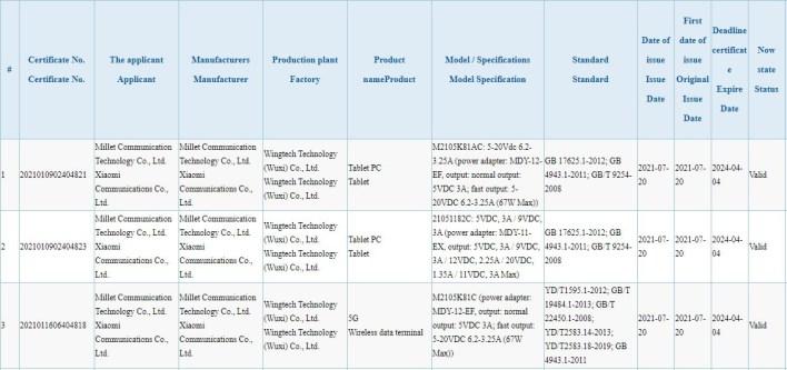Xiaomi Mi Pad 5 Mix 4 CC11 3C