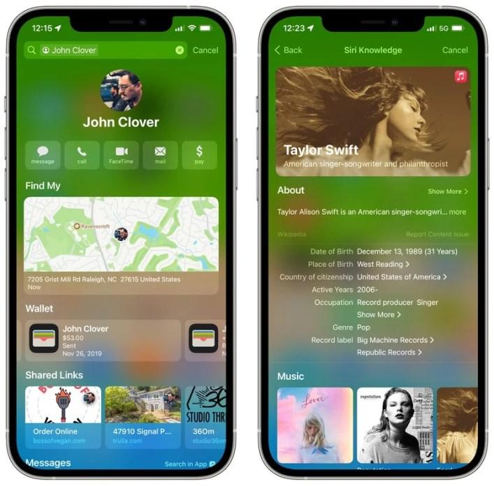 Apple iOS 15 Spotlight Rich Results Kontakte Siri