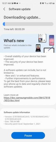 Samsung Galaxy S20 FE 5G Android-Sicherheitspatch-September 2021-Update