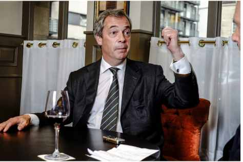 Nigel Farage interviewed by Simon Walters at Shepards resturant Westminster