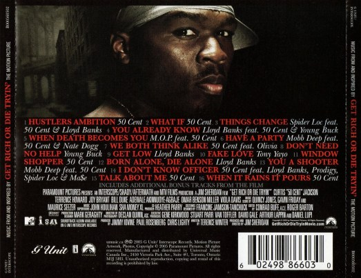 get rich or die tryin soundtrack back cover