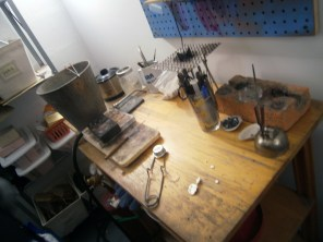 This is Emilie's work place. This is where she melts her metal and starts creating her amazing jewelry.