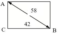 Диагональ прямоугольного, равна 58 см