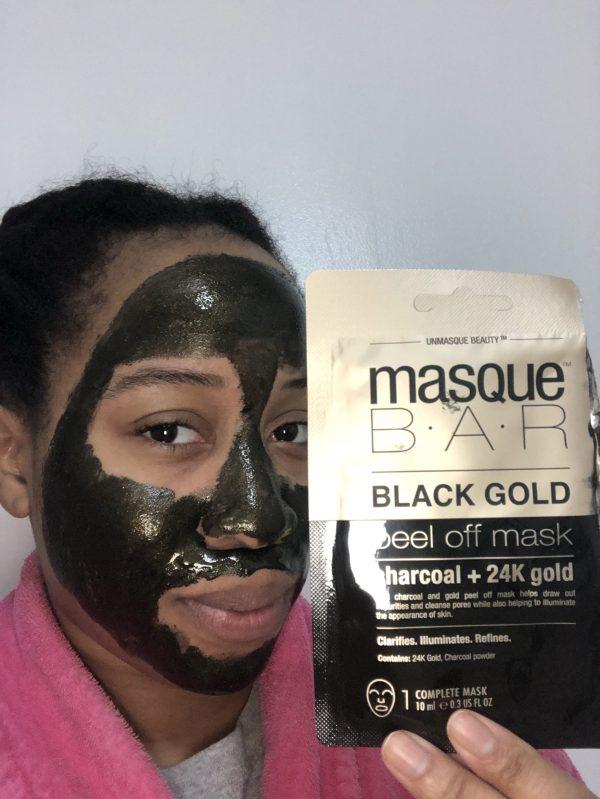Full Application of the MasqueBar Black Gold Face Mask