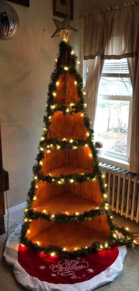 6ft Wood Christmas Tree Corner Shelf Smart Size Buildings