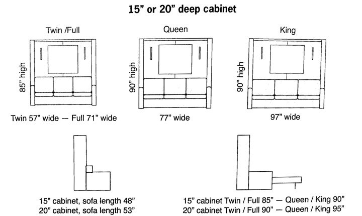 Cabinet Bed Murphy Bed Specification Sheet