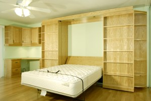 Murphy Bed Office Makeover - Guest Bed Solution - SmartSpaces.com - Open Hidden Bed