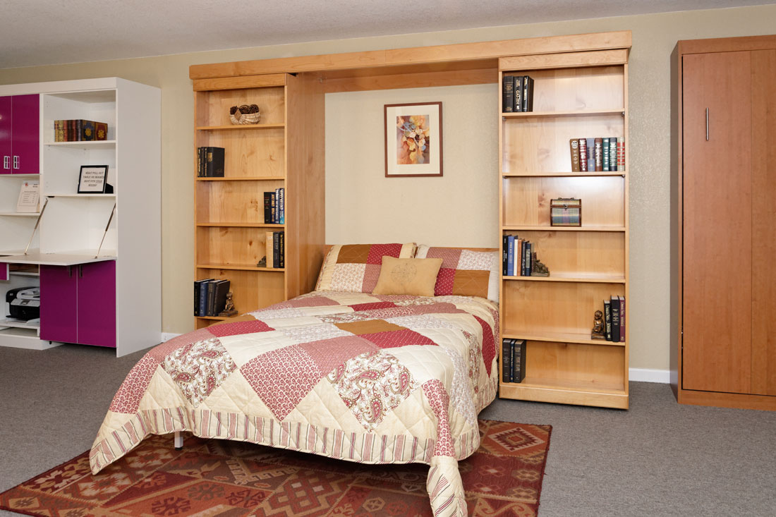 Library Murphy Bed Hidden Behind Bookcase With Cabinets Shelves Drawers  Bookcase Slides