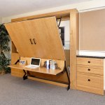 Murphy Wall Bed with Cabinets, Drawers, Fold-down Desk
