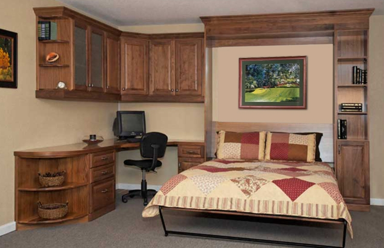 Custom Home Office, Guest Room Makeover, Vertical Queen Murphy Bed  Installed, Custom Cabinetry
