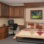 Custom home office, guest room makeover, vertical queen Murphy bed installed, custom cabinetry, corner unit