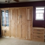 traditional murphy bed design and finish, custom cabinets, with light, drawers, closed