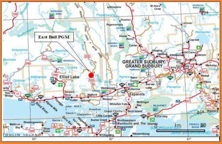 Canadian Palladium Resources Inc CNSX-BULL PGM property map