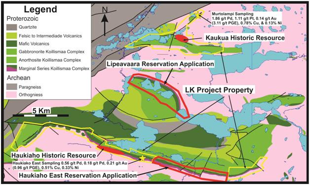 Palladium One Mining Inc LK Project Property