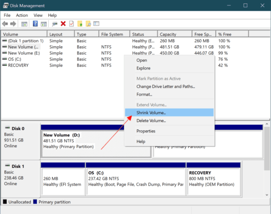 Create a new Partition in Windows 10