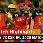 IPL 2020: Match 25 RCB vs CSK  Highlights    Royal Challengers Bangal...