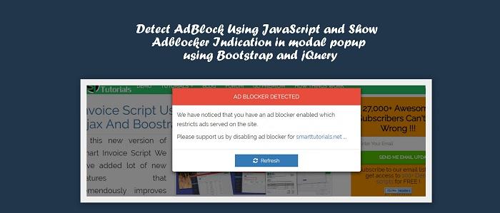 Detect AdBlock Using JavaScript and Show Adblocker