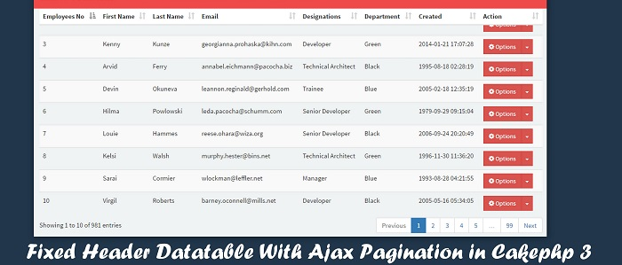 Fixed Header Datatables With Ajax Pagination Search Filter in Cakephp3 Using jQuery & Bootstrap3