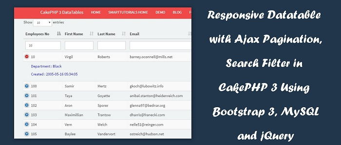 Responsive Datatable with Ajax Pagination, Search Filter in CakePHP 3 Using Bootstrap 3, MySQL and jQuery