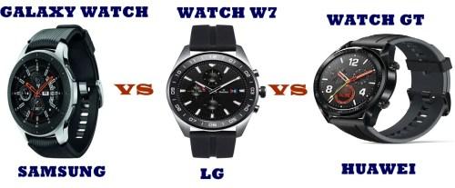 lg watch w7 vs samsung galaxy watch vs huawei watch gt