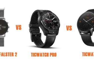 skagen falster 2 vs ticwatch pro vs C2 compared