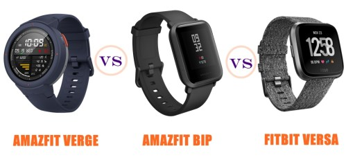 amazfit verge vs bip vs fitbit versa compared