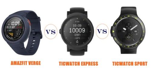 amazfit verge vs ticwatch express vs sport - compared