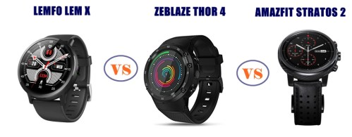 lemfo lem x vs zeblaze thor 4 vs amazfit stratos 2 - which is better