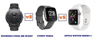 withings steel hr sport vs fitbit versa vs apple watch series 4 compared